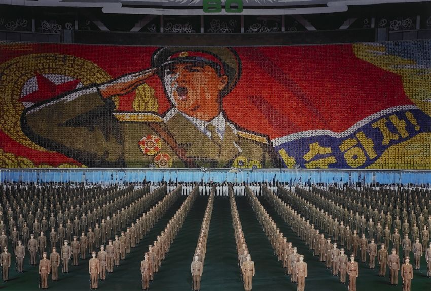 'Songun Politics', symbolizing the supremacy of the army, North Korea, 2005