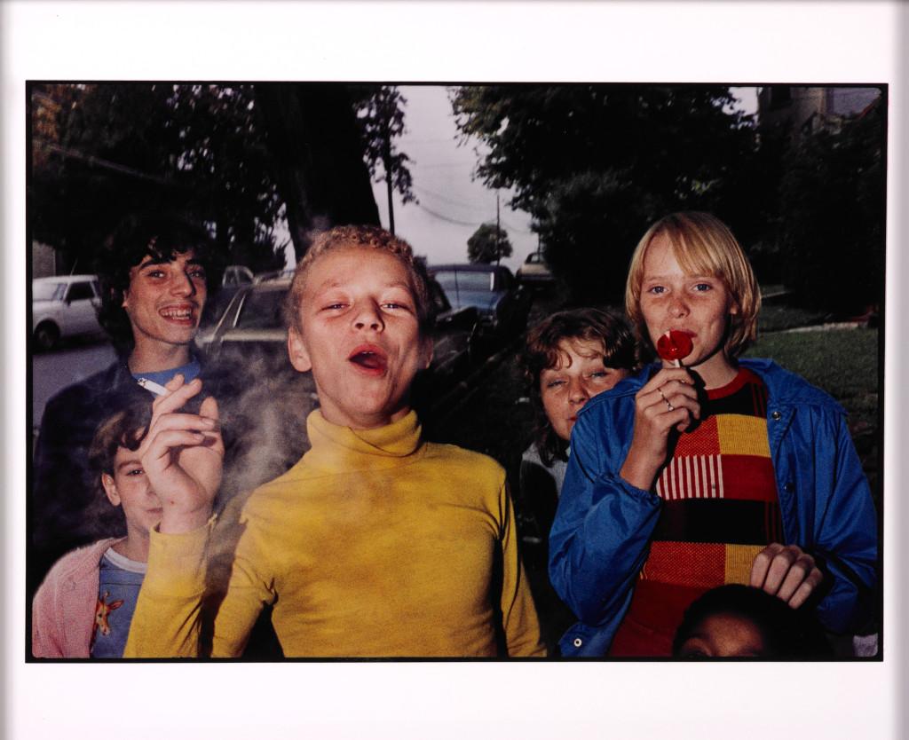 Boy in yellow shirt smoking, Scranton, PA
