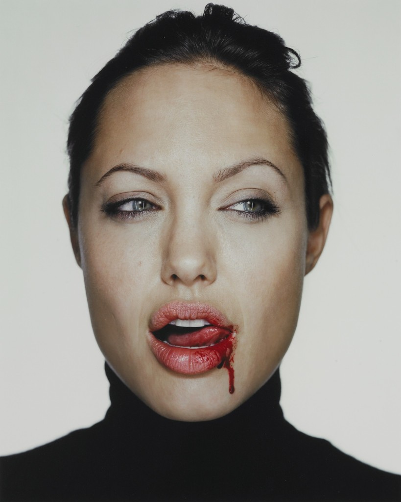 Angelina Jolie with blood