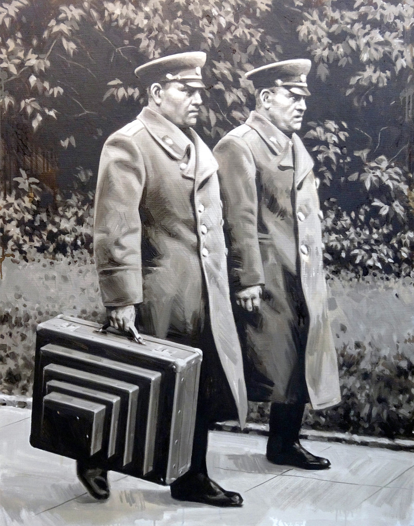 Two with a suitcase for transporting the Mausoleums