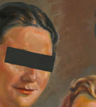 Old Painting, witz Five Persons, witz Black Barrel over the Eyes