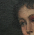 Portrait of woman with wounded blue eye